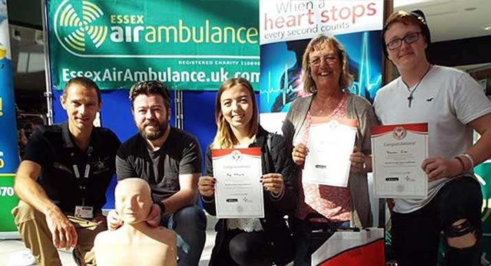 Shoppers hold CPR certificates